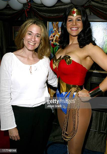Susan Eisenberg and Wonder Woman during Wonderful World of Animation at ComicCon 2004 at San Diego Convention Center in San Diego California United...