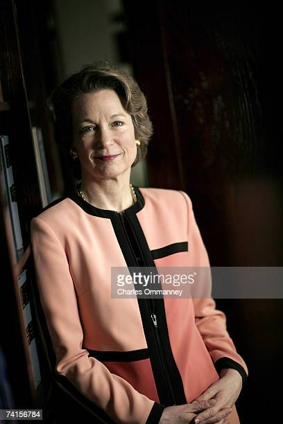 Susan Eisenhower granddaughter of Gen Dwight D Eisenhower poses for photos in her office on May 3 2005 in Washington DC