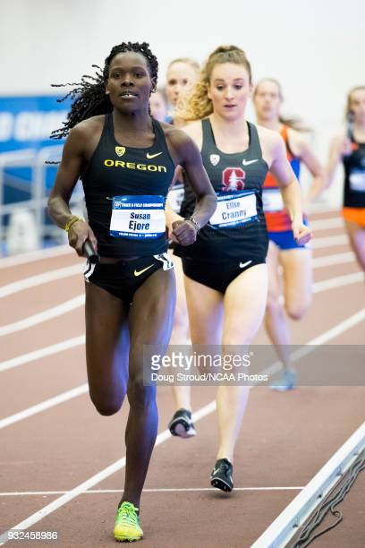 Susan Ejore of the University of Oregon leads Elise Cranny of the Stanford University and the field during the Womens Medley during the Division I...