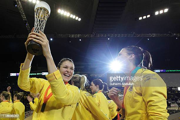 Susan Fuhrmann of Australia celebrates with the trophy after her team's 2011 World Netball Championships final victory against New Zealand at...