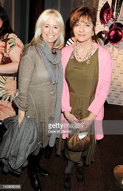 Susan George and Diana Quick attend a party celebrating the launch of Twiggy For MS Women at Home House on April 12 2012 in London England