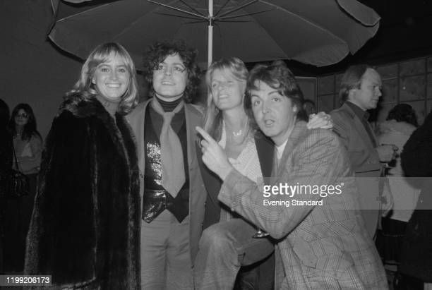 Susan George, Marc Bolan , Linda McCartney and Paul McCartney attending Rod Stewart's after-show party in London, England, in December 1976.