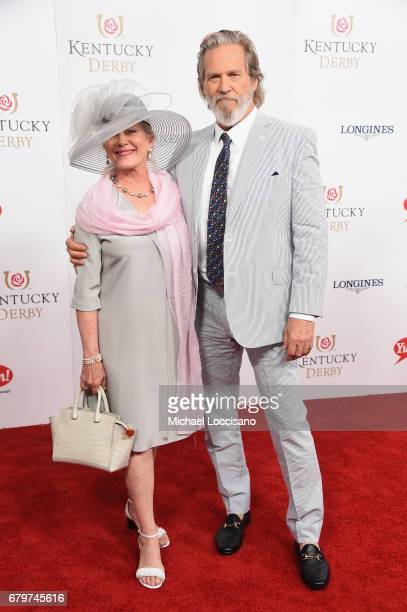 Susan Geston and actor Jeff Bridges attend the 143rd Kentucky Derby at Churchill Downs on May 6 2017 in Louisville Kentucky