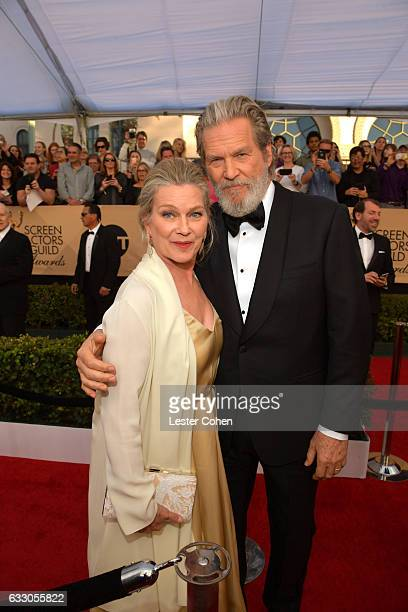 Susan Geston and actor Jeff Bridges attend the 23rd Annual Screen Actors Guild Awards at The Shrine Expo Hall on January 29 2017 in Los Angeles...