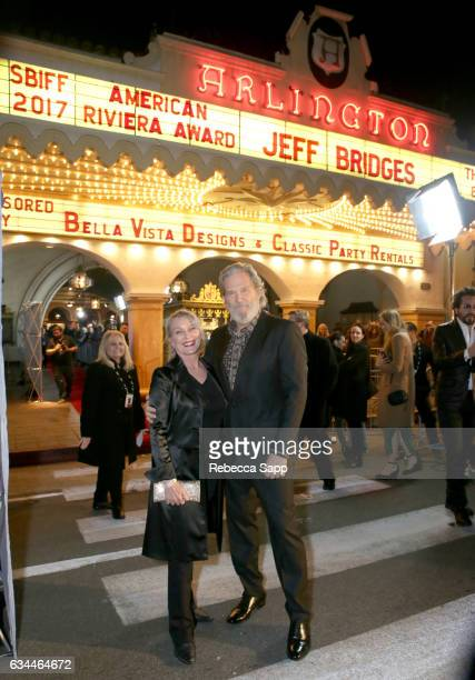 Susan Geston and actor Jeff Bridges attend the American Riviera Award honoring Jeff Bridges at the Arlington Theatre on February 9 2017 in Santa...