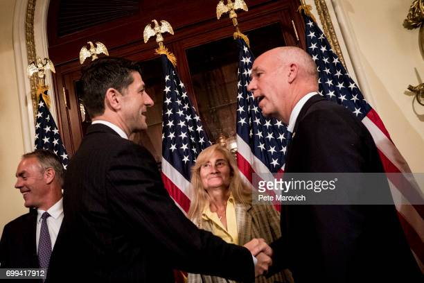 Susan Gianforte looks on as Speaker of the House Paul Ryan RWis congratulates controversial Montana Republican Greg Gianforte after a ceremonial...