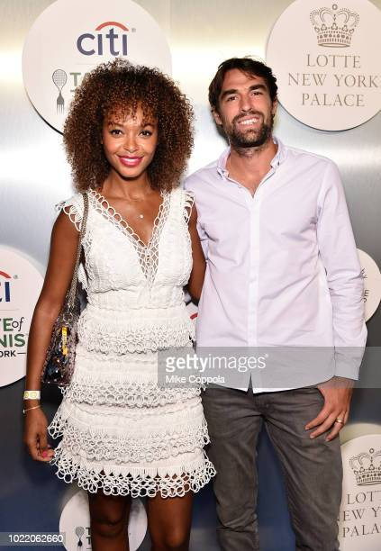Susan Gossage and tennis player Jeremy Chardy attend the Citi Taste Of Tennis gala on August 23 2018 in New York City
