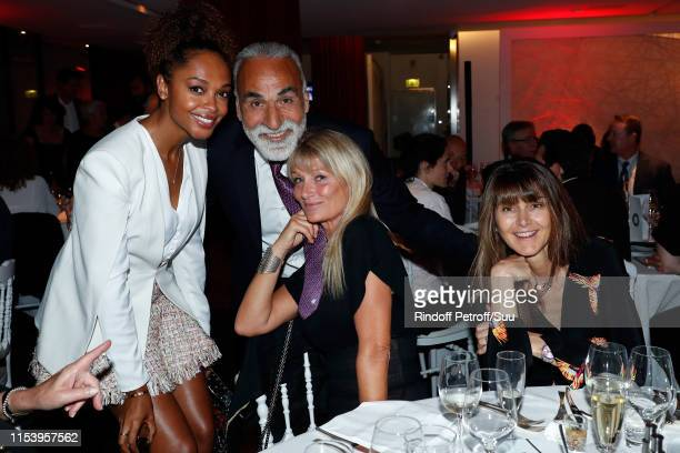 Susan Gossage Mansour Bahrami and Isabelle Camus attend the Legends Of Tennis Dinner as part of 2019 French Tennis Open at on June 05 2019 in Paris...