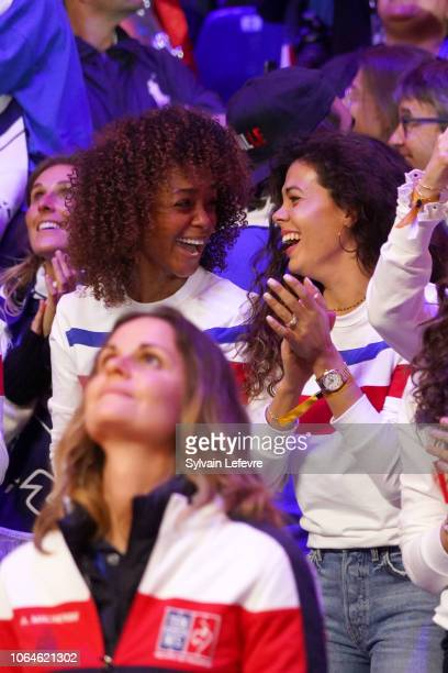 Susan Gossage wife of Jeremy Chardy and Noura El Shwekh wife of Jo Wifried Tsonga during day one of the Davis Cup Final 2018 between France and...