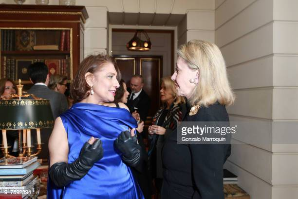 Susan Gutfreund and Muna Rihani AlNasser during the Susan Gutfreund Hosts UN Women For Peace Association Reception on February 12 2018 in New York...