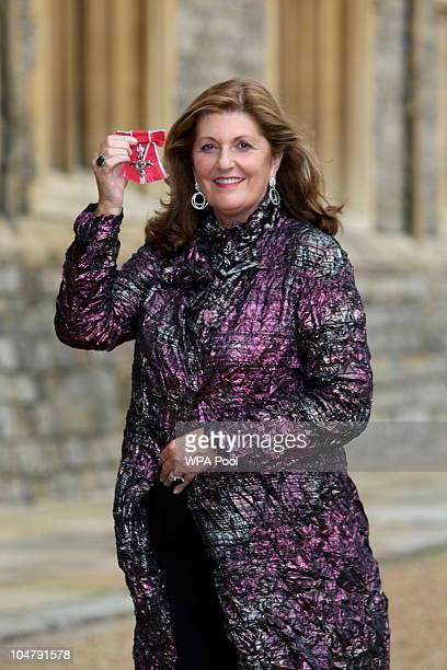 Susan Harmsworth after she was made a Member of the British Empire by the Princess Royal during the investiture ceremony at Windsor Castle on October...