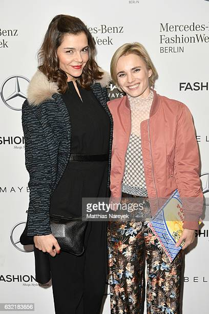 Susan Hoecke and Annie Hoffmann attend the Dawid Tomaszewski X Patrizia Aryton show during the MercedesBenz Fashion Week Berlin A/W 2017 at Kaufhaus...