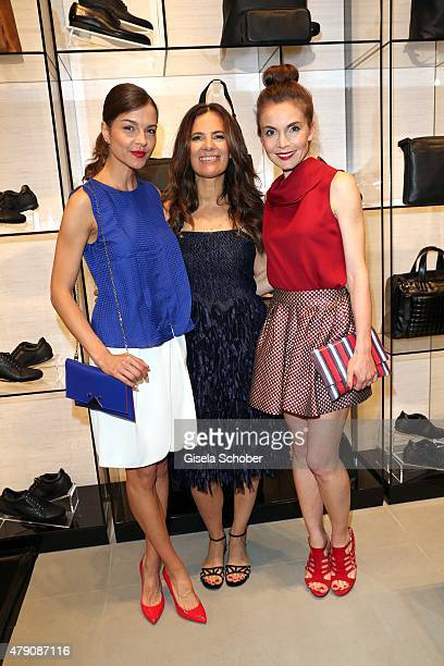 Susan Hoecke Roberta Armani Nadine Warmuth during the Emporio Armani Sounds event in connection with the reopening of the store on June 30 2015 in...