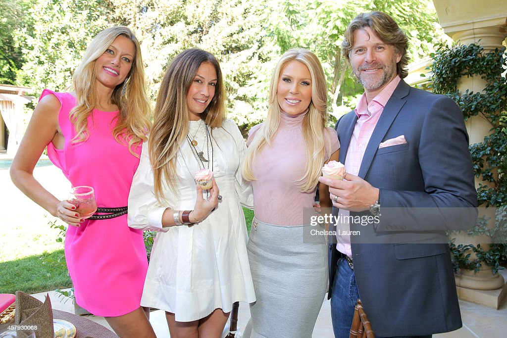 Susan Holmes McKagan, AJ Celi, Gretchen Rossi and Slade Smiley attend The How 2 Girl think pink ladies luncheon on October 26, 2014 at the Sixx Residence in Westlake Village, California.