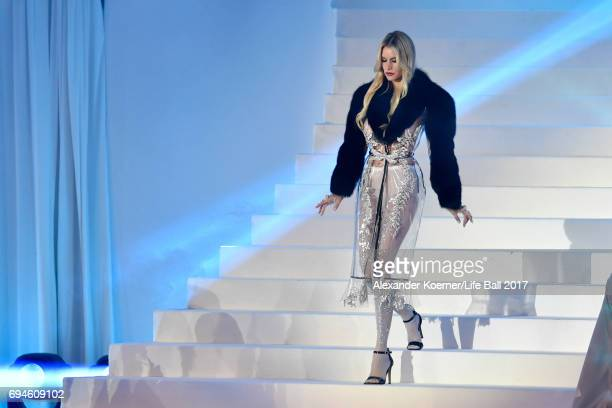Susan Holmes McKagan is seen on stage during the Life Ball 2017 show at City Hall on June 10 2017 in Vienna Austria