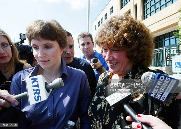 Susan Jefferson mother of St. Louis Blues Mike Danton and Aunt Linda Gebe walk from the Federal Courthouse following a bond hearing for Danton May 7,...