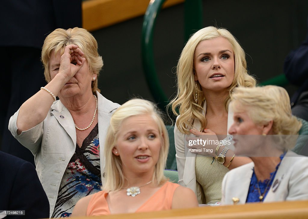 Susan Jenkins and Katherine Jenkins attend on Day 8 of the Wimbledon Lawn Tennis Championships at the All England Lawn Tennis and Croquet Club at Wimbledon on July 2, 2013 in London, England.