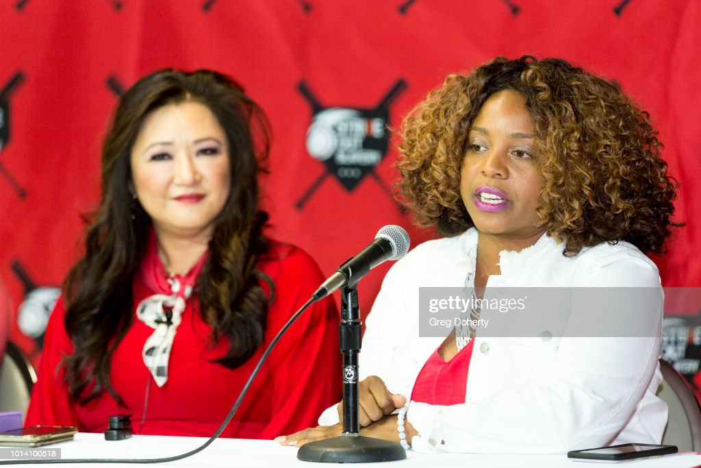 Susan Kang Schroeder and Survivor Advocate Stacy Jewell attend the Strike Out Slavery Press Conference at Angel Stadium on August 9, 2018 in Anaheim, California.