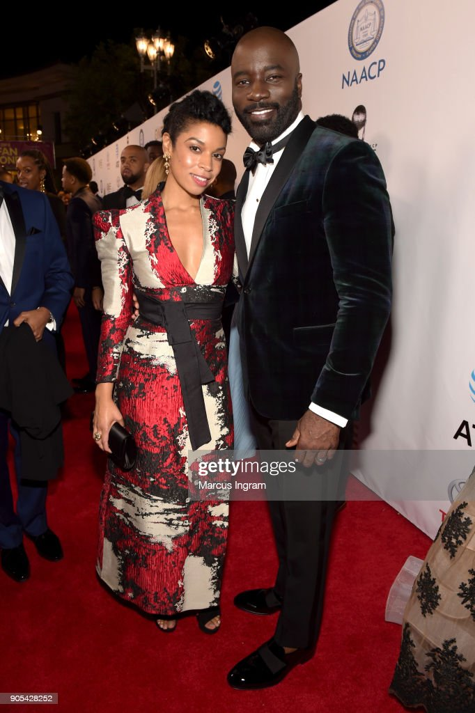Susan Kelechi Watson (L) and Mike Colter attend the 49th NAACP Image Awards at Pasadena Civic Auditorium on January 15, 2018 in Pasadena, California.