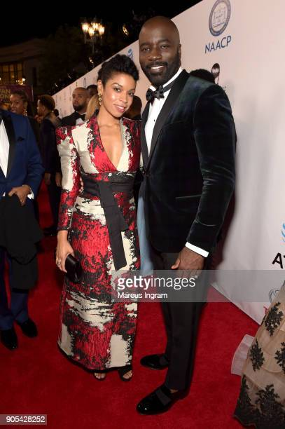 Susan Kelechi Watson and Mike Colter attend the 49th NAACP Image Awards at Pasadena Civic Auditorium on January 15 2018 in Pasadena California