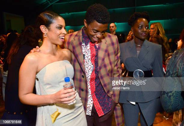 Susan Kelechi Watson Chadwick Boseman and Lupita Nyong'o are seen with FIJI Water at the Hollywood Reporter's 27th Annual Women In Entertainment...