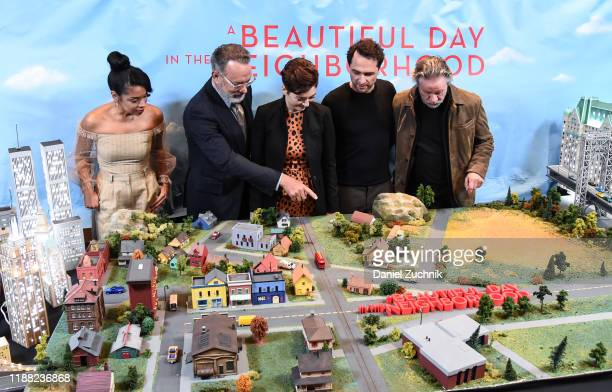 Susan Kelechi Watson Tom Hanks Marielle Heller Matthew Rhys and Chris Cooper attend the Photo Call for A Beautiful Day in the Neighborhood at Four...