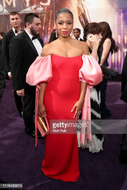 Susan Kelechi Watson walks the red carpet during the 71st Annual Primetime Emmy Awards on September 22, 2019 in Los Angeles, California.
