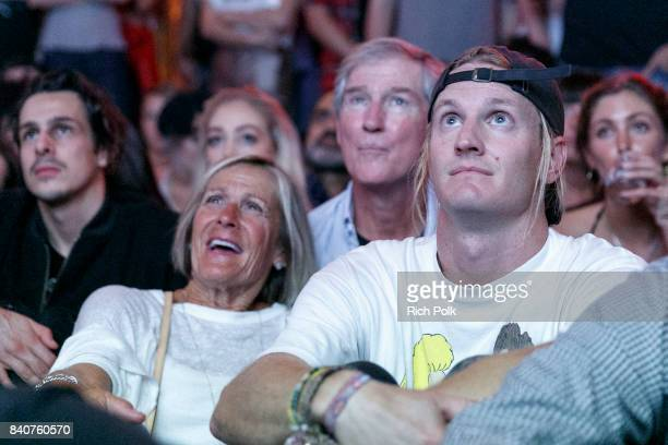 Susan Kramer Tom Kramer and Rory Kramer watch an episode with guests at MTV's Dare To Live Premiere Party at WNDO Space on August 29 2017 in Venice...