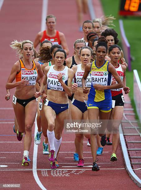 Susan Kuijken of the Netherlands Jo Pavey of Great Britain and Northern Ireland Emelia Gorecka of Great Britain and Northen Ireland and Meraf Bahta...