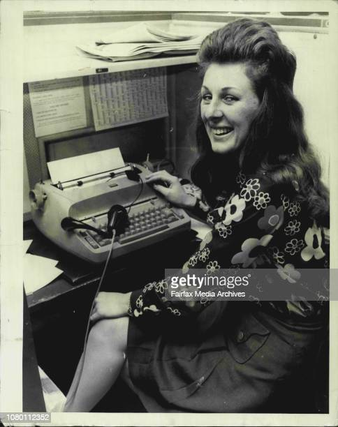 Susan Lenoise who works in Classified Ade on the 10th floor sitting at one of the IBM 'Colf Ball' Typewriters September 29 1972