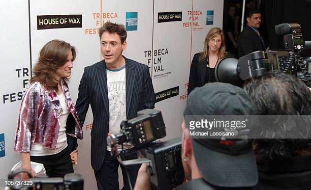 """Susan Levin, producer, and Robert Downey Jr. During 4th Annual Tribeca Film Festival - """"House of Wax"""" New York City Premiere at Stuyvesant High..."""
