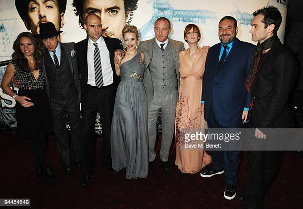 Susan Levin, Robert Downey Jnr, Mark Strong, Rachel McAdams, Guy Ritchie, Kelly Reilly, Joel Silver and Jude Law arrive at the World Premiere of...