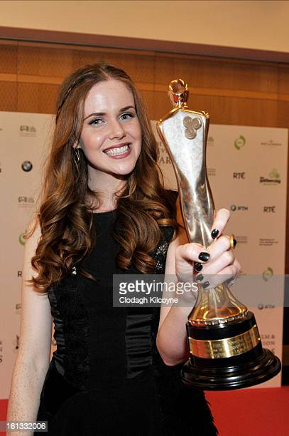 Susan Loughnane poses in the Press Room at the Irish Film and Television Awards at Convention Centre Dublin on February 9 2013 in Dublin Ireland
