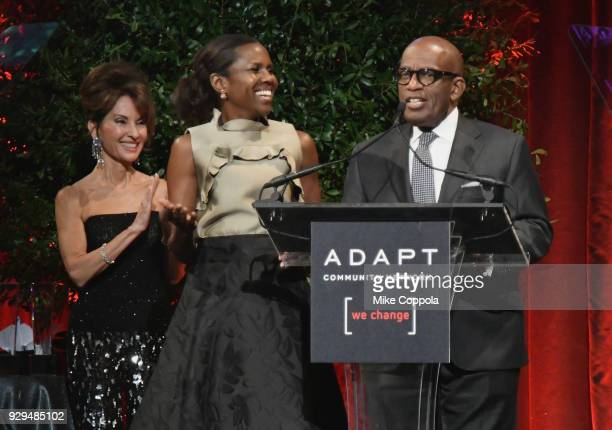 Susan Lucci Deborah Roberts and Al Roker speak durng the Adapt Leadership Awards Gala 2018 at Cipriani 42nd Street on March 8 2018 in New York City