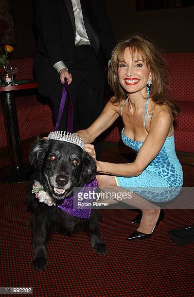 Susan Lucci wearing Roberto Cavalli and Harry Winston tiara with dog Devlin who is a cancer survivor at Tails Tiaras Benefit for the Flaherty...