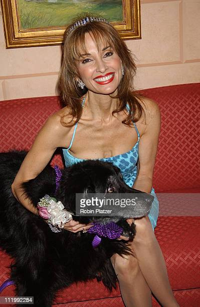 Susan Lucci wearing Roberto Cavalli and Harry Winston tiara with dog Devlin at Tails Tiaras Benefit for the Flaherty Comparative Oncology Laboratory...