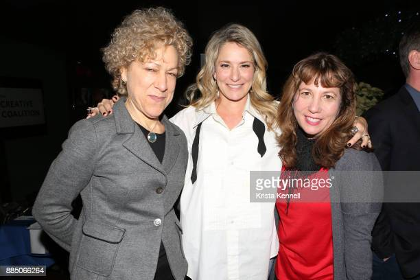Susan Margon Cat Greenleaf and Creative Coalition CEO Robin Bronk attend The Creative Coalition/Novocure Voices Of Impact Dinner at Carolines On...