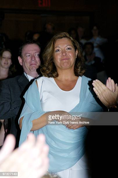 Susan McDougal smiles as she's applauded by the audience after a screening of the documentary film 'The Hunting of the President' at New York...