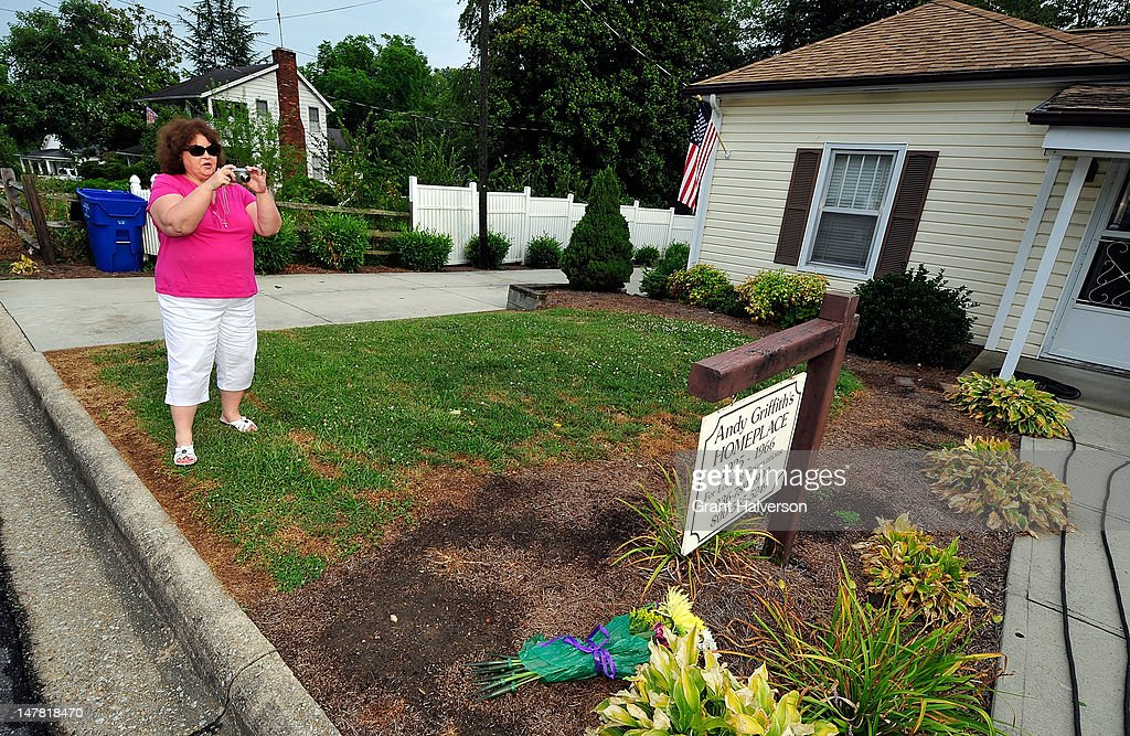 Susan Newton of Mississippi photographs the birthplace of actor Andy Griffith on July 3, 2012 in Mt Airy, North Carolina. Griffith died around 7am at his North Carolina home at age 86.