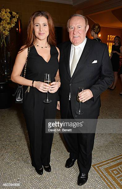 Susan Nilsson and Andrew Neil attend Debrett's 500 party hosted at The Club at Cafe Royal on January 26 2015 in London England The Debrett's 500...