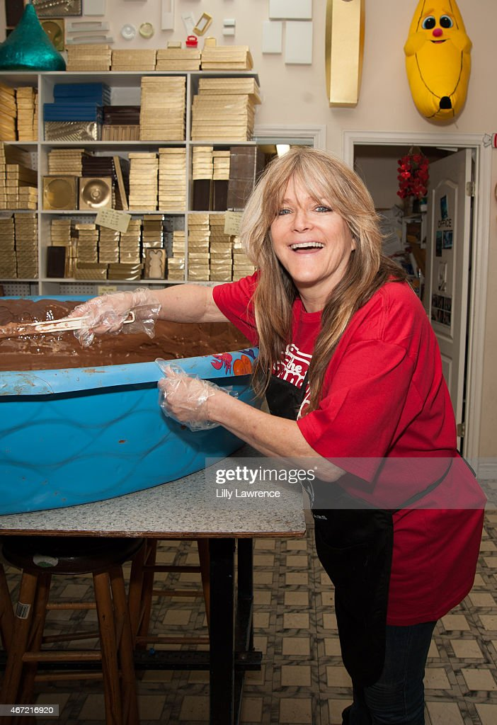 Susan Olsen helps The Candy Factory attempt World Record for The World's Largest Peanut Butter Cup at The Candy Factory on March 21, 2015 in North Hollywood, California.