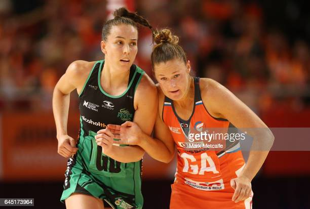 Susan Pettitt of the Giants and Stacey Francis of the Fever compete during the round two Super Netball match between the Giants and the West Coast...