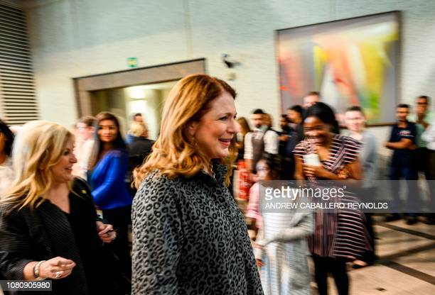 Susan Pompeo wife of US Secretary of State Mike Pompeo leaves the Embassy after meeting with staff and family members at the US Embassy in Manama on...