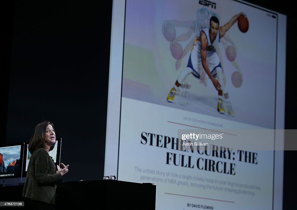 Susan Prescott, Apple vice president of Product Management and Marketing, speaks during the Apple WWDC on June 8, 2015 in San Francisco, California. Apple annouced a new OS X, El Capitan, iOS 9 and Apple Music during the keynote at the annual developers conference that runs through June 12.