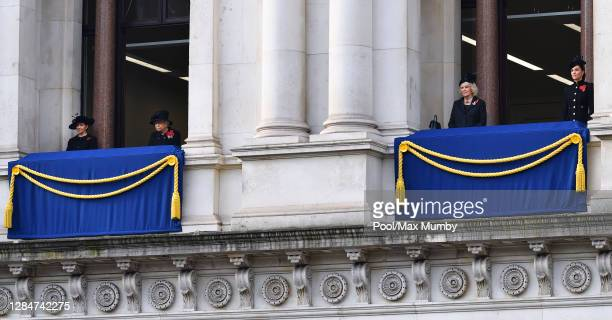 Susan Rhodes Queen Elizabeth II Camilla Duchess of Cornwall and Catherine Duchess of Cambridge watch from balconies of The Foreign Commonwealth...