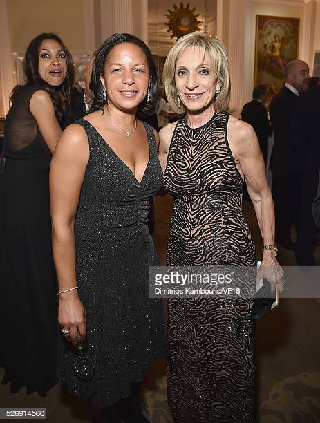 Susan Rice and guest attend the Bloomberg Vanity Fair cocktail reception following the 2015 WHCA Dinner at the residence of the French Ambassador on...