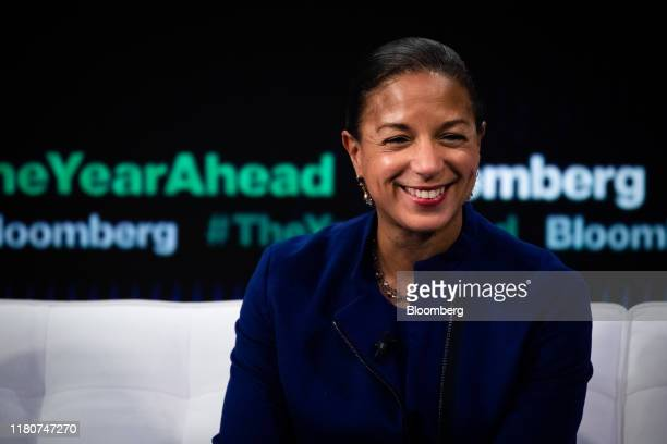 Susan Rice, former U.S. National security advisor, smiles during the Bloomberg Year Ahead Summit in New York, U.S., on Thursday, Nov. 7, 2019. The...