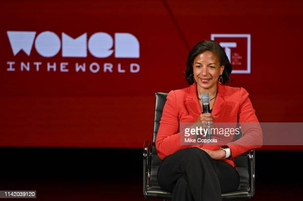 Susan Rice speaks onstage at the 10th Anniversary Women In The World Summit - Day 2 at David H. Koch Theater at Lincoln Center on April 11, 2019 in...