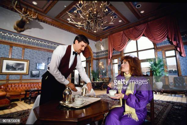 Susan Saint James actress photographed December 22 1987 having tea in a luxury hotel in Aspen Colorado