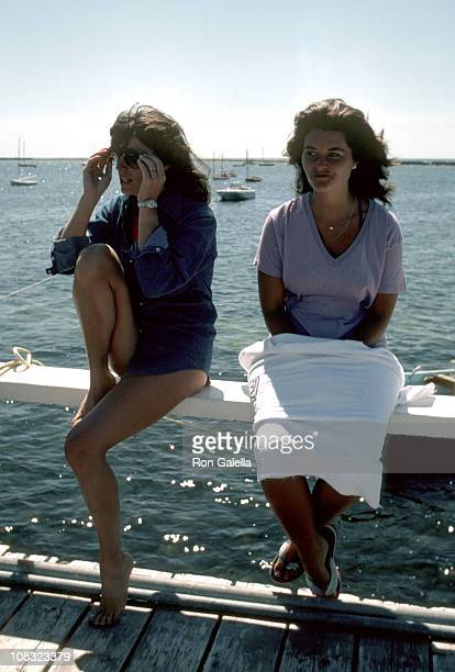 Susan Saint James and Maria Shriver during The Kennedy Family In Hyannis Port August 21 1981 at Kennedy Compound Pier in Hyannis Port Massachusetts...